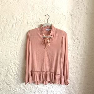 Peachy Pink Flowy Long-Sleeve Blouse w/ Ruffle Hem
